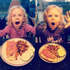 #Lunch is a cured #hotdog with homemade #pickled red onions rosemary #sweetpotato home fries & sliced cukes for these #WeeChefs #Spoiled