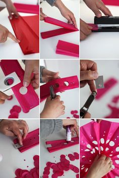 paper hanging fans | Step 4: Punch holes in the tissue paper with various size hole punches ...