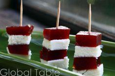 brazillian romeu e julieta (easy snack or dessert) -- guava paste and white cheese stacks