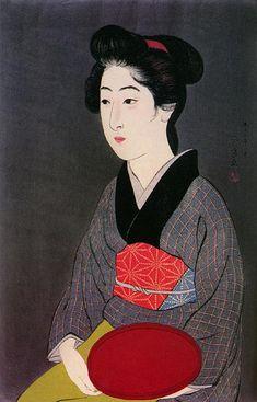 hanga gallery . . . torii gallery: Woman Holding Tray by Hashiguchi Goyo