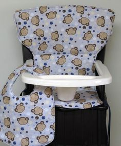 Safety First wood high chair pad with matching bib, Newport style Eddie Bauer wooden chair pad, baby and child accessory, monkeys on gray by SewingsillySister on Etsy