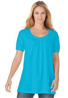 Women's Plus Size Top, In Soft Knit, The Perfect Cotton U-Neck Tunic (Ocean,4X) Woman Within http://www.amazon.com/dp/B009MORXU0/ref=cm_sw_r_pi_dp_8GGzvb18QSMCW