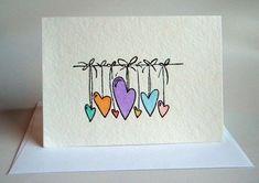 Valentines Watercolor, Watercolor Cards, Watercolour, Paper Cards, Diy Cards, Tarjetas Diy, Hand Drawn Cards, Envelope Art, Ideias Diy