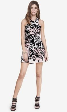TROPICAL PRINT CRISSCROSS NECK FIT AND FLARE DRESS from EXPRESS