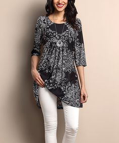 Look what I found on #zulily! Black & White Paisley Empire-Waist Tunic Dress #zulilyfinds