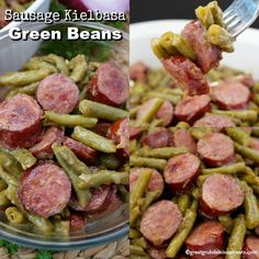 Sausage Kielbasa Green Beans are an easy Thanksgiving side dish recipe everyone loves. Delicious kielbasa with green beans, onions and cooked just right. Kabasa Recipes, Sausage Recipes, Side Dish Recipes, Appetizer Recipes, Dinner Recipes, Appetizers, Canning Recipes, Restaurant Recipes, Beans And Sausage