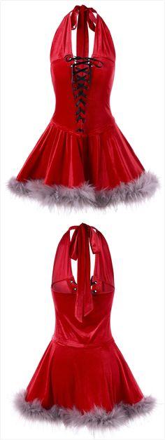 ff37747d6a86b Christmas Lace Up Halter Vintage Dress $16.76,sammydress,sammydress.com Christmas  Dress Women