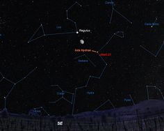 Skychart showing the moon in the early evening of April 10, wedged between the bright star Regulus and the much fainter Iota Hydrae. The distant planetary nebula Abell 33 sits just below the orange star in the constellation Hydra.  Credit: Starry Night Software / A.Fazekas