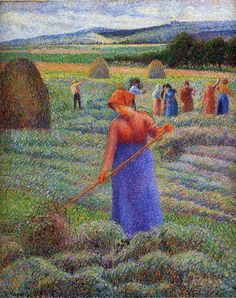Haymakers at Eragny by Camille Pissarro - Canvas Art Print