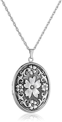 Sterling Silver Oval Floral Locket Necklace, Necklace featuring antiqued sterling silver oval locket with textured floral design on front. Locket opens to reveal photo windows. Rope chain with lobster-claw clasp. Hand crafted in the USA. Earring Trends, Jewelry Trends, Locket Necklace, Initial Necklace, Cute Jewelry, Women Jewelry, Necklace For Girlfriend, Silver Lockets, Latest Jewellery