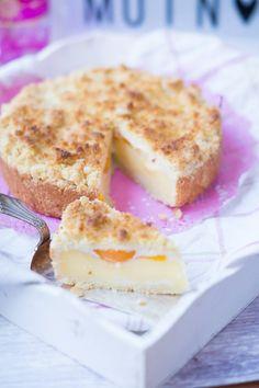 Streusel Pudding Pfirsich Kuchen