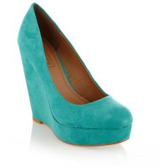Turquoise wedge court shoes ($31) on Polyvore