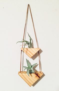 Triangle Wall Hanging vol. Hanging Wall Planters, Hanging Plants, Hanging Gardens, Hanging Flower Wall, Wood Projects, Woodworking Projects, Triangle Wall, Decoration Plante, Air Plant Terrarium