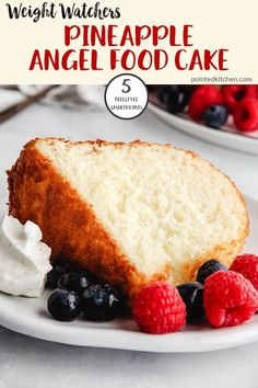 This Pineapple Angel Food Cake is just 5 Smart Points per portion on Weight Watchers Freestyle plan. Serve with mixed berries and a dollop of light whipped cream for a tasty low Smart Point WW dessert. So easy to make! Ww Angel Food Cake Recipe, Angle Food Cake Recipes, Cake Mix Recipes, Ww Recipes, Diabetic Recipes, Weight Watcher Cookies, Weight Watchers Desserts, Ww Desserts, Healthy Dessert Recipes