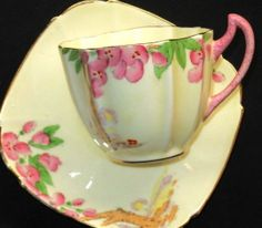 PARAGON ROYAL CREAM PINK MOTTLE GREEN ART DECO TEA CUP AND SAUCER