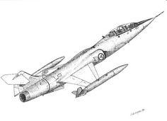 RNoAF f-104 fighter pointillism Pointillism, My Drawings