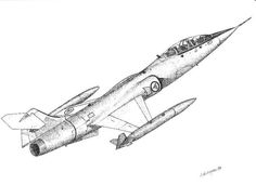 RNoAF f-104 fighter pointillism