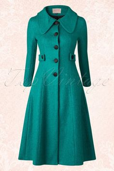 Mode Banned Simple Game Winter Coat Emerald Black 152 40 16396 20150814 The Many Faces Of A Coat Dress, Dress Up, Hijab Fashion, Fashion Dresses, Swing Rock, Vintage Outfits, Vintage Fashion, Mode Mantel, Vintage Coat