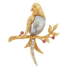 Gold, Semi-Baroque Cultured Pearl, Diamond and Ruby Bird Pin, Van Cleef & Arpels, Italy