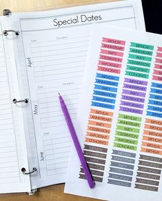 Special Dates printable planner page