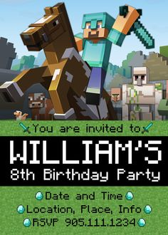Minecraft Birthday Party Custom Invitation