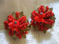 Vintage Very Cherry Red Hobe Beaded Wired by Sisters2Vintage, $38.00