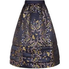 Ted Baker Ellaina Kyoto Gardens Jacquard Midi Skirt ($310) ❤ liked on Polyvore featuring skirts, ted baker skirt, floral midi skirts, blue midi skirt, flower print skirt and jacquard skirt