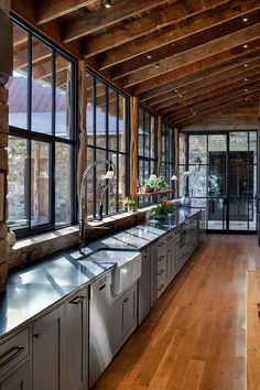 Wood Floors, Window Wall & Steel Window - Rustic Kitchen By Rehme Steel Windows & Doors