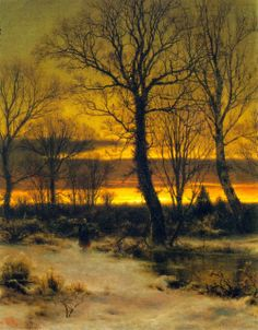 Louis Remy Mignot Winter, Sunset in the Forest – 1862 Winter Landscape, Landscape Art, Landscape Paintings, Paintings I Love, Nature Paintings, Hudson River School, Mary Cassatt, Winter Painting, Forest Painting