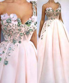 Flower details by - Prom Dresses Elegant Dresses, Pretty Dresses, Quince Dresses, Grad Dresses, Prom Dresses Long Pink, Beautiful Gowns, Gorgeous Dress, Dream Dress, Evening Dresses