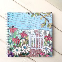 Floral Notebook with mosaic flowers ~ gardeners gift ~ shop soiled ~ gift under 5 pounds ~ thank you gift ~ gift for teacher