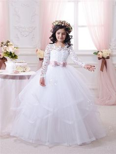2016 Hot White Flower Girl Dresses Long Lace Sleeve Girls Pageant Dresses First Communion Dresses For Little Girls Ball Gown Special Occasion Dresses Wedding Gown From Liuliu8899, $102.36| Dhgate.Com