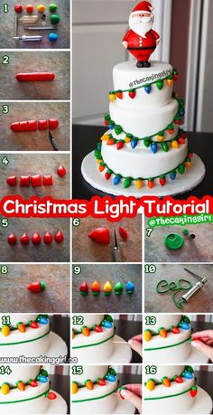 Easy and cute fondant Christmas lights tutorial for cake decorating. How to step by step instructions, making fondant Christmas Lights for a fondant cake. Christmas Cake Decorations, Christmas Sweets, Holiday Cakes, Christmas Cooking, Christmas Lights, Christmas Cakes, Fondant Christmas Cake, Christmas Cake Designs, Christmas Birthday Cake