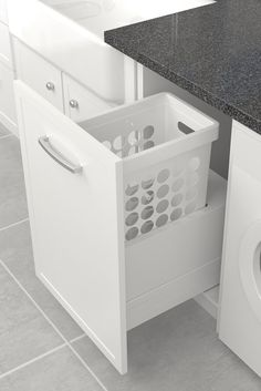 Tanova Simplex drawer frame inserts for 300mm cabinets allow you to turn an existing drawer into a pull out laundry basket. Intelligent plastic hamper design with a liquid containment inclusion to protect cabinets from dripping laundry. Durable lightweight hamper with sturdy built in handles for easy carriage between bathroom, wardrobe, laundry and clothesline.