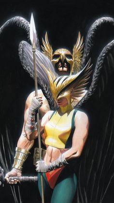 JSA Hawkman and Hawkgirl by Alex Ross- DC (Detective Comics) Comic Book Artists, Comic Book Heroes, Comic Artist, Comic Books Art, Alex Ross, Arte Dc Comics, Gi Joe, Justice Society Of America, Hawkgirl