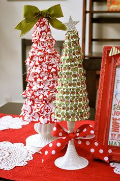 Foam Cone Holiday Tree Tutorial - Ruffled Ribbon & Pins