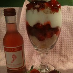 Strawberry parfait and Barefoot wine