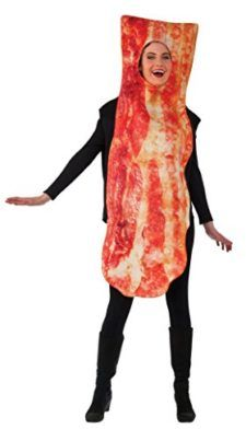 Bacon Halloween Costume Make a big entrance at your next costume event with the Bacon Strip Adult Halloween Costume It includes a one-piece tunic that extends over your head, Buy Bacon Strip Adult Halloween Costume at Walmartcom