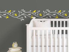 Children Wall Decal  Yellow Gray Nursery  Pink Gray by Lulukuku, $42.50