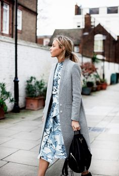 Love the grey coat paired with this floral twinset! From http://www.happilygrey.com/personal-style/gray/