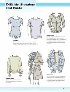 T-shirts, Sweaters, and Coats, text, clothes; How to Draw Manga/Anime