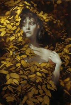 oil and gold leaf painting by Brad Kunkle