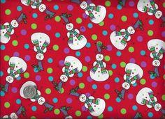 1/2 Yard Christmas Quilt Fabric Snowmen Dots Whimsical Winter Holiday  | auntiechrisquiltfabric - Children's on ArtFire