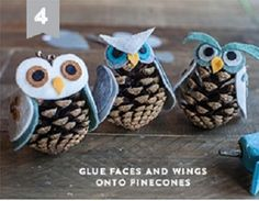Learn to make Owl Pinecone Ornaments. Pinecone Owls, Pinecone Ornaments, Owl Ornament, Peppa E George, Christmas Art, Xmas, Quick And Easy Crafts, Arts And Crafts, Diy Crafts