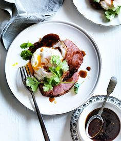 Australian Gourmet Traveller recipe for ham steaks with fried egg and chilli tamarind sauce.