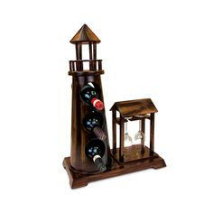 Puzzled Inc. Caesar en 3 Bottle Wine Rack with 2 Wine Glass Holder