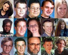 on-this-day-in-crime: Deceased, Columbine High School, April 20, 1999 Row 1:Rachel Scott, 17Daniel Rohrbough, 15Kyle Velasquez, 16Steven Curnow, 14Cassie Bernall, 17 Row 2:Isaiah Shoels, 18Matthew Kechter, 16Lauren Townsend, 18John Tomlin, 16Kelly Fleming, 16 Row 3:Daniel Mauser, 15Corey DePooter, 17Dave Sanders, 47Eric Harris, 18 (Perpetrator)Dylan Klebold, 17 (Perpetrator)