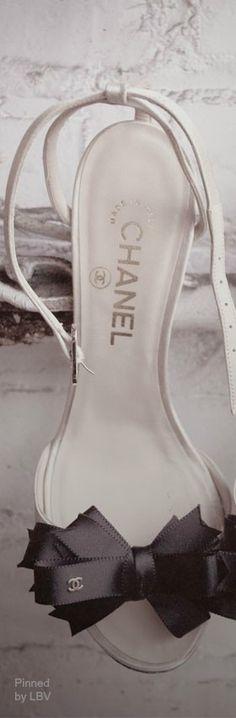 Chanel ~ White Bridal Sandals w Black Bow Tie