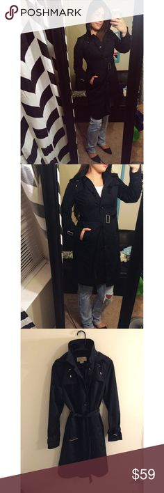 Michael Kors Hooded Trench Coat Michael Kors size small. Excellent condition! So cute! Black with silver buckles. Good for all weather! Michael Kors Jackets & Coats Trench Coats