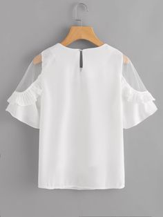 SheIn offers Sheer Insert Frill Trim Blouse & more to fit your fashionable needs. Dolly Fashion, Girl Fashion, Fashion Outfits, Look Fashion, Korean Fashion, Fashion News, Cute Comfy Outfits, Blouse Online, Nice Tops